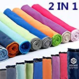 HOEAAS 2 Pack Microfiber Travel & Sports & Beach Towel-L(48 x28+24 x 12)-Lightweight, Compact, Super Absorbent, Fast Dry for Outdoor, Yoga, Camping,Gym+Buckled Carry Bag(L, Purple)