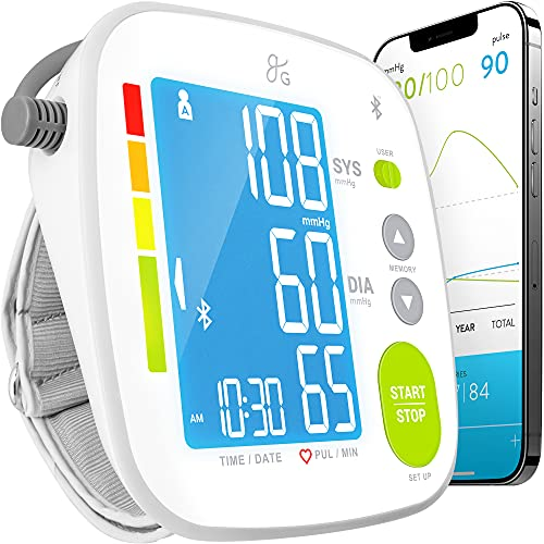 GreaterGoods Bluetooth Full Set Blood Pressure Monitor Cuff and Kit, Carrying Case, Batteries, Plug, Cuff, Monitor, Free iPhone and Android App Download (Full Kit FBA)