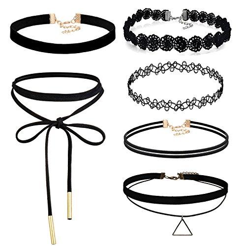 Aroncent Gargantilla Negra de Terciopelo Encaje Sexy Choker Ajustable Multicapa Collar con Cierre Aleación Joyería de Cuerpo Elegante de Moda para Mujer 6PCS