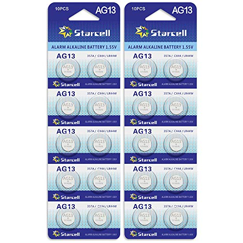 ACT AG13/LR44 Knopfzellen (10Stück) - A76 / L1154 / SR44 / G13 / 357 - 1,5V. AG13 X 20