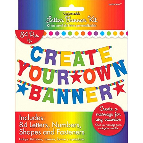 Amazon.com: Amscan 120183 Letter Banner One Size Multicolor: Kitchen & Dining
