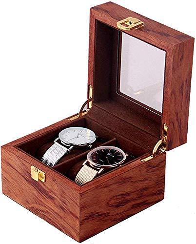 HJ Zuhause Uhrenbox Schmuckschatullen Hombre Mujer Regalo Viajevintage Holz 2 Uhr Display Aufbewahrungsbox 12 * 12 * 8Cm