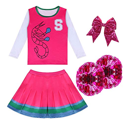 Cheerleader Costume for Girls Addison Zombies Rose Dress Two Cheerleader Pom Poms Matching Hair Rope