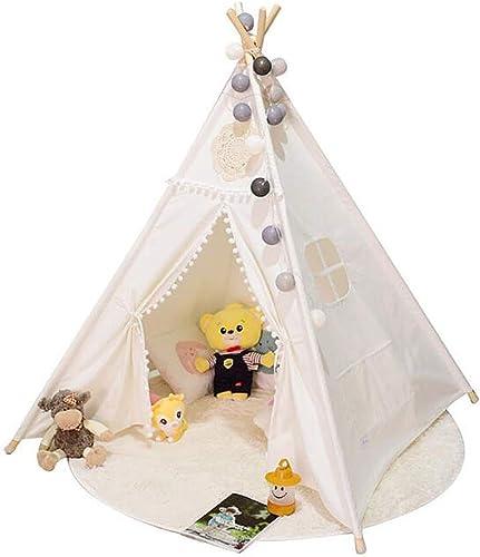 Kinder Tipi Spielzelt - Indian Wigwam Kinder Tipi Spielhaus - 100% Baumwolle Canvas Prinzessin mädchen Zelt Für Innen Und Au  Weiß
