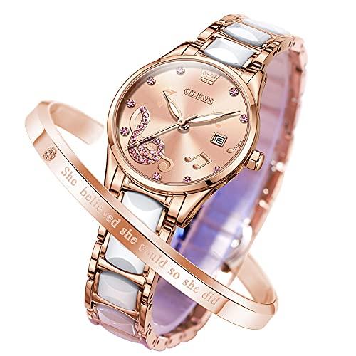 OLEVS 腕時計 レディース かわいい ピンクゴールド 防水 夜光 人気 とけい 日本クォーツ ブレスレット付き セラミック 見やすい 日付 ピンク