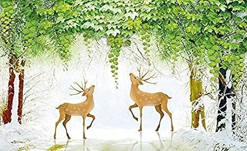 ZZXIAO Papel pintado de la nieve 3D para el telón de fondo 3D de la TV del paisaje animal de la sala de estar para S Decoración Fotomural sala Pared Pintado Papel tapiz no tejido-430cm×300cm