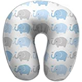 Agnes Carey Almohada para el Cuello en Forma de U Almohadas para Elefantes para bebés Suave Convertible Multifuncional para Viajes de Lectura y para Dormir