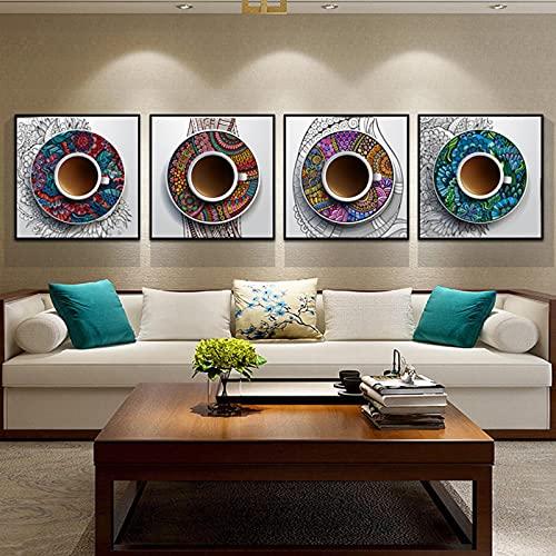 Estilo étnico Taza Arte de la pared Imágenes Impresión en lienzo Pinturas Patrón de flores Carteles e impresiones Sala de estar Decoración del hogar 40x40cmx4pcs sin marco