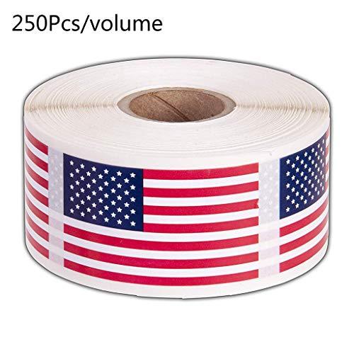 jiheousty 250 Stück/Rolle American Flag Stickers USA Patriotische Siegeletiketten für Briefumschlag-Scrapbooking-Briefpapier