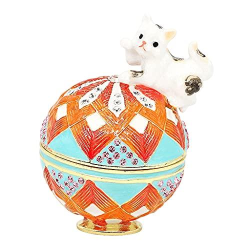 ROEWP Caja de joyería de Cristal de cerámica, Cuju Gato Forma Pendientes Anillo joyería Caja de Almacenamiento Dibujos Animados Lindo Regalo Escritorio Adorno decoración (Color : A)