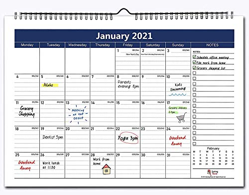 Two Years Wall & Desktop Calendar 2021 & 2022 | 12 * 17 inch / 30.5cm * 43cm Desk Calendar| Flexible Monthly Calendar For Office & Home |Premium Thick Paper For Organising & Planning|Twin-Wire Binding