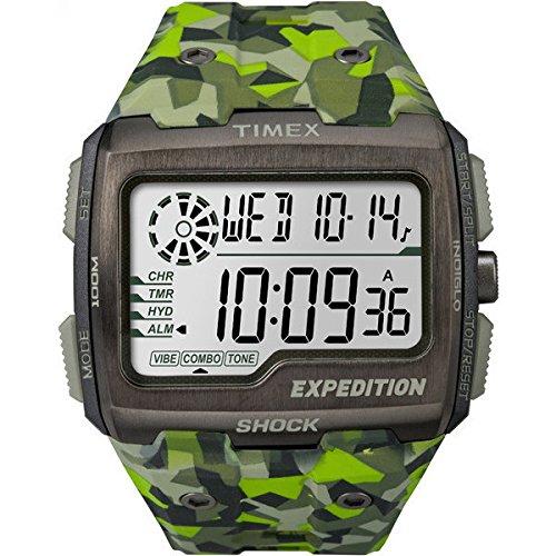 Timex Expedition Grid Shock - Reloj (Reloj de pulsera, Masculino, Acero inoxidable, Gris, Resina, Verde)