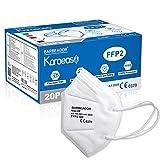 KARAEASY Mascherina Ffp2 filtri 95% Mascherine Ffp2 Certificate CE 5 Strati Passanti Orecchie Confezione da 20 PC (Bianco)