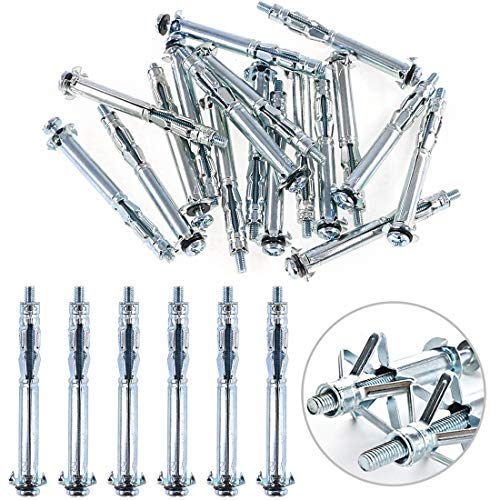 Glarks 30Pcs 4x60MM Heavy Duty Zinc Plated Steel Molly Bolt Hollow Drive Wall Anchor Screws Set for Drywall, Plaster and Tile (M4x60)