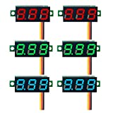 DaFuRui 6pcs Mini Digital Voltmeter DC 0-100V 0.28 Inch Three-Line Mini Digital Voltmeter Voltage Tester Meter 3 Colors