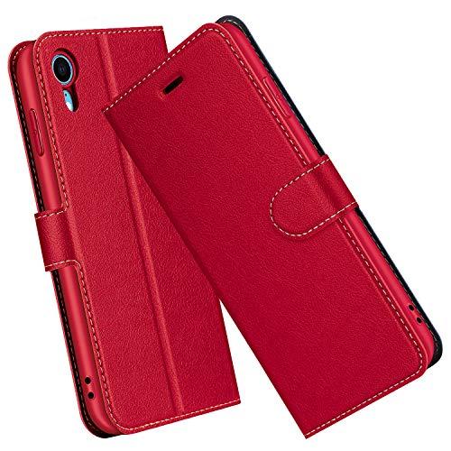 ELESNOW Funda iPhone XR, Cuero Premium Flip Folio Carcasa Case para Apple iPhone XR (Rojo)