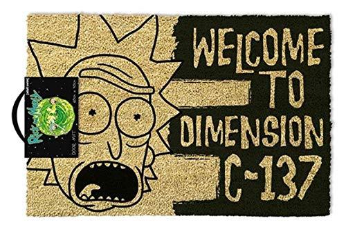 Rick & Morty GP85192 Fußmatte Welcome to Dimension C-137, Kokosfaser, Schwarz, 60 x 40 x 1,5 cm