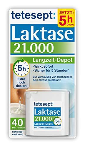 tetesept Laktase 21.000 Langzeit-Depot – Mit 5 Stunden Langzeit-Depot - kontinuierlicher Laktoseabbau in Magen & Darm - wirkt sofort – 1 Dose à 40 Stück (Nahrungsergänzungsmittel)