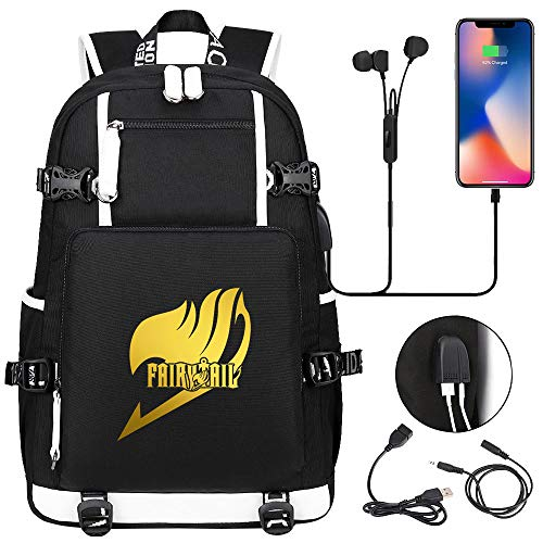 LKKOY Fairy Tail Travel Laptop Backpack Anti-Theft Business Work Backpacks Bag with USB Charging Port Hiking Daypack Anime Movie USB Backpack with Charging Port Black