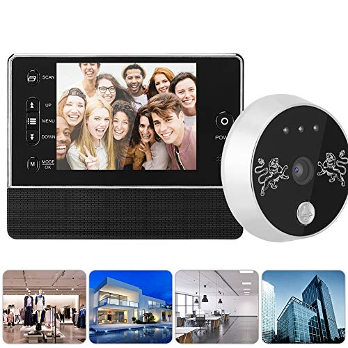 Visor digital inalámbrico de puerta, mirilla, timbre visual intercomunicador con pantalla TFT a color 3.5 pulgadas,visión nocturna por infrarrojos, tono de llamada de 32 tipos, timbre inteligente