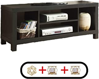 Generic- Sturdy and Simple Cross Mill TV Stand (47.24 x 15.75 x 19.09 Inches, Black Oak)