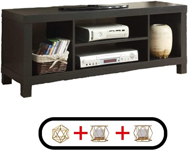 Generic Sturdy And Simple Cross Mill TV Stand 47 24 X 15 75 X 19 09 Inches Black Oak