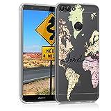 kwmobile Huawei Enjoy 7S / P Smart (2017) Hülle - Handyhülle für Huawei Enjoy 7S / P Smart (2017) - Handy Case in Travel Schriftzug Design Schwarz Mehrfarbig Transparent