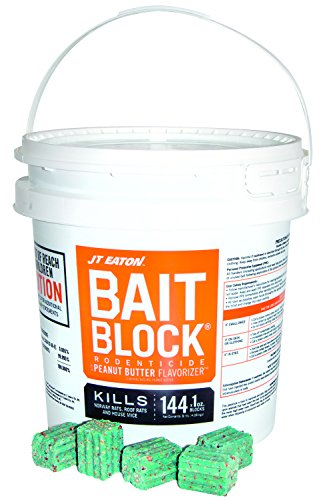 JT Eaton 166004 709-PN Bait Block Rodenticide Anticoagulant Bait, Peanut Butter Flavor, for Mice and Rats (9 lb Pail of 144), Green