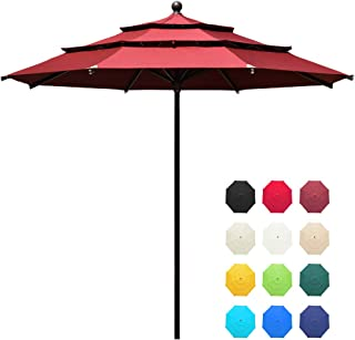 EliteShade Sunbrella 11ft 3 Tiers Market Umbrella Patio Outdoor Table Umbrella with Ventilation and 10 Years Non-Fading Guarantee(Sunbrella Burgundy)