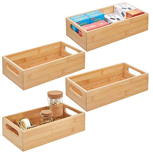 mDesign Wood Bamboo Storage Bin Container, Home Office Desk and Drawer Organizer Tote with Handles - Holds Gel Pens, Erasers, Tape, Pens, Pencils, Markers, Envelopes - 4 Pack - Natural