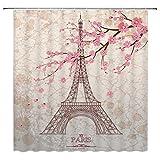 Feierman Vintage Eiffel Tower Shower Curtain Art Decor Pink Romantic Cherry Blossom Bathroom Curtain Decor Set with Hooks 70x70Inches