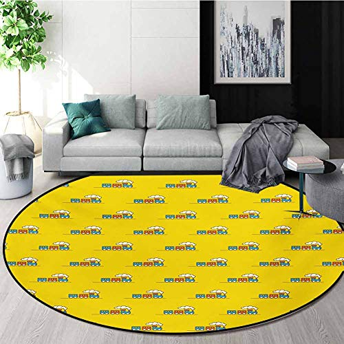 Lowest Price! RUGSMAT Cartoon Modern Machine Washable Round Bath Mat,Funny Toy Train On The Road Bab...