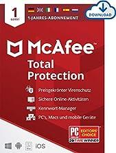 McAfee Total Protection 2020 | 1 Geräte | 1 Jahr | Antivirus Software, Virenschutz-Programm, Passwort Manager, Mobile Security, Multi Geräte | PC/Mac/Android/iOS |Europäische Ausgabe| Download Code©Amazon