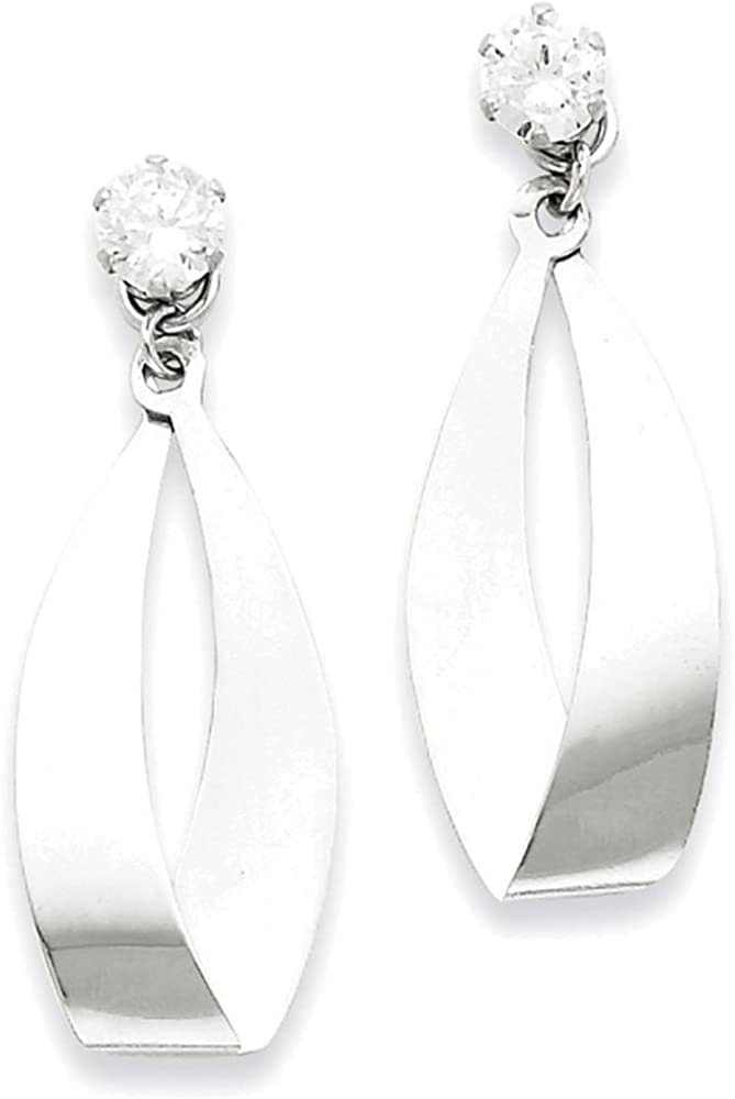 Finejewelers 14k White Gold Polished Oval Dangle with CZ Stud Earring Jackets