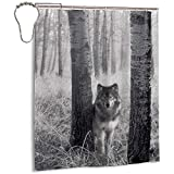 Sherry K-Shower Curtains Duschvorhang Wachsame Wolf Augen In Der Wildnis Bad Vorhang Mit Haken Langlebig Wasserdichtes Gewebe Bad Vorhang Sets (183 cm x 183 cm)