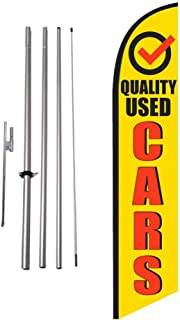 Quality Used Cars Auto Dealership Advertising Feather Banner Swooper Flag Sign with Flag Pole Kit and Ground Stake