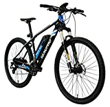 YANCPRO 27.5' 36V Mountain Electric Bike, 300W Adult Urban Ebike Bicycle, 14 MPH with Removable 36V/8.7Ah Battery, Professional 24 Speed Gear, LCD Speedometer -Black