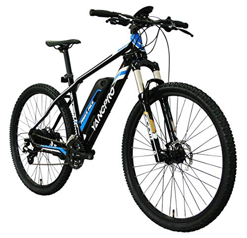 "YANCPRO 27.5"" 36V Mountain Electric Bike, 300W Adult Urban Ebike Bicycle, 14 MPH with Removable 36V/8.7Ah Battery, Professional 24 Speed Gear, LCD Speedometer -Black"