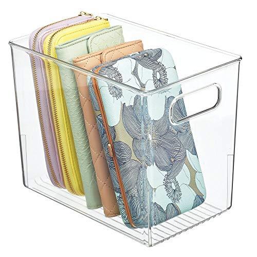 MDESIGN Aufbewahrungsbox mit Griffen – Kunststoffkiste zur Kleideraufbewahrung, für Schuhe etc. – auch als Box für Bastel- und Büroutensilien geeignet – durchsichtig