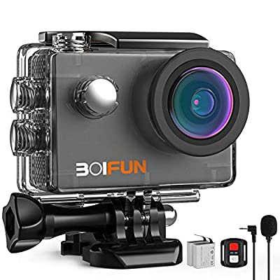BOIFUN 4K 20MP Webcam PC Mode Anti-Shake Underwater Action Sport Wi-Fi Camera with External Microphone Waterproof 40 Meters Remote Control and 20 Accessories from BOIFUN