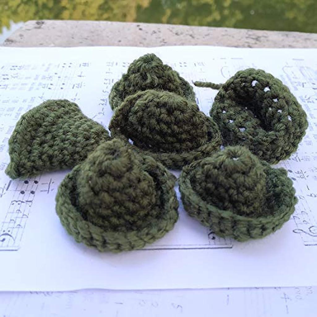 6X Hand Crocheted Mini hat, Girl's Party Cloth Shoes Bag Favors, Doll's Mini hat (6X Big Dark Green)