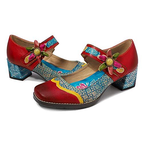 CrazycatZ Damen Halbschuhe Party Schuhe Leder Klassische Pumps Vintage Flats Blockabsatz (38 EU, Rot)