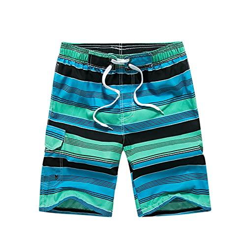 Qier Pantalones Cortos Hombre Summer Surf Board Shorts De Playa Patrón De Rayas Trunks, Verde, 3XL