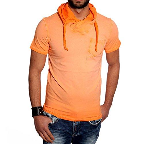 KICKDOWN Hemd Slim Fit Kurzarm Herren Poloshirt Batik Style T-Shirt Kd-2460, Farbe:Gelb;Größe:L