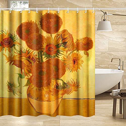 INVIN ART Van Gogh Duschvorhang-Set mit Haken, Sonnenblumen von Van Gogh, Kunstgemälde für das Badezimmer