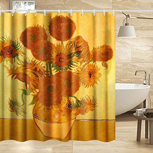 INVIN ART Extra Long Bathroom Shower Curtain Set with Hooks,Sunflowers by Van Gogh,Home Art