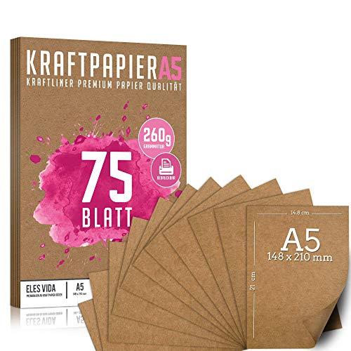 75 Blatt Kraftpapier A5 Set - 260 g - 14,8 x 21 cm - DIN Format - Bastelpapier & Naturkarton Pappe Blätter aus Kraftkarton zum Drucken, Kartonpapier Basteln für Vintage Hochzeit Geschenke Etiketten
