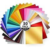 Juego de 30 Hojas de Vinilo Autoadhesivas Permanentes – colores surtidos (30 colores)de vinilo de 30,5 x 30,5 cm