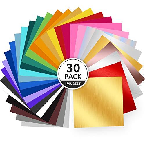 ImnBest 30Pack Permanent Selbstklebende Vinylfolien Set - 30 Vinylfolien 30.5cm*30.5cm(12