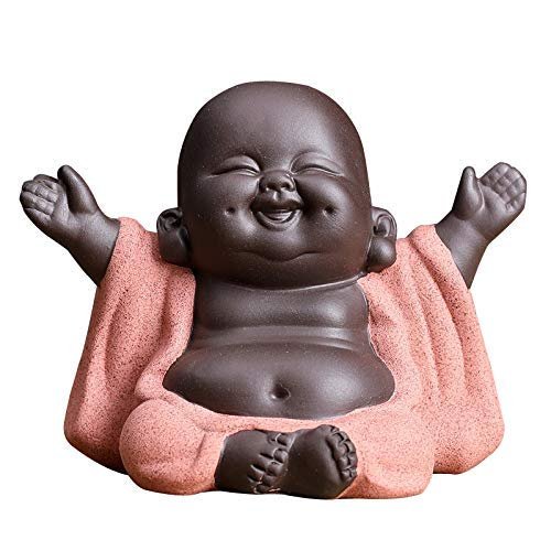 Kingzhuo Ceramic Little Cute Baby Buddha Statue Monk Figurine Buddha Figurines Home Decor Creative Baby Crafts Dolls Ornaments Gift Delicate Ceramic Arts and Crafts (Red)